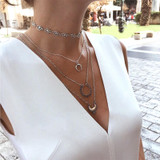 4 Piece Boho Moon Star Multi Layered Exquisite Silver Clavicle Necklace
