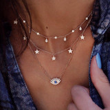 Ladies Stars Water Drops All Seeing Eye Crystal Gem 3 Piece Boho Necklace Set Gold