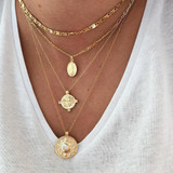 Virgin Mary Multi Layer Crystal Cross Clavicle Necklace Multi Layer 4 Piece Gold Set
