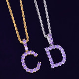 Iced Purple Candy Stone Lab Diamond Tennis Letters Pendant Chain Necklace