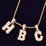 18k Gold Snow Cap Ice Initial Pendants