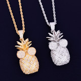 Rose Gold Silver 14k Pineapple Hip Hop Pendant Chain Necklace