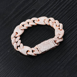 16mm Iced AAA Micro Pave Cuban Link Hip Hop Rose Gold Silver 14k Bracelet