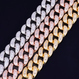 22mm Baguette Lab Diamond Miami Cuban Link Hip Hop Street Rock Bracelet