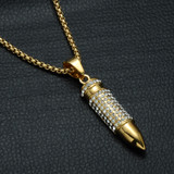 14k Gold Titanium Stainless Steel Iced Bling Bullet Head Pendant Chain Necklace