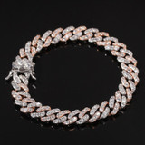 Hip Hop 8MM Bling AAA Studded Stone Rose Gold Silver Miami Cuban Link Bracelet