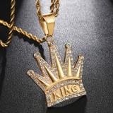 Hip Hop Full AAA Iced Bling Simulate Diamond Crown KING 14k Gold Stainless Steel Pendant