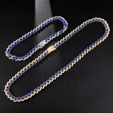 Hip Hop 13MM Bling Iced Miami Cuban Full AAA Pave Simulate Diamond Chain Bracelet Set