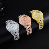 Hip Hop Luxury Mens Cuban Link Band 14k Rose Gold Silver Wrist Watches