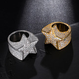 18k Gold .925 Silver AAA Simulated Diamond Crushed Ice Super Star Hip Hop Rings