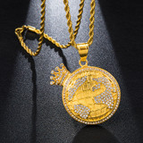 Hip Hop King Of The World Earth Crown AAA Simulate Diamond 14k Gold Pendant