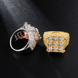Hip Hop Full AAA Simulate Diamond 14k Gold Silver 9 Cut Bling Iced Rings