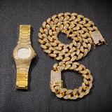 Hip Hop 14k Rose Gold Silver Miami Cuban Link Chain Bracelet Watch Jewelry Set