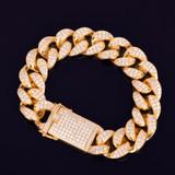 Solid 925 Sterling Silver 14k Hand Set AAA Lab Diamond Stone Miami Cuban Link Bracelet