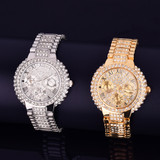 Ladies Small Dial Lab Diamond 14k Gold Stainless Steel Bezel Boss Lady Bling Wrist Watch