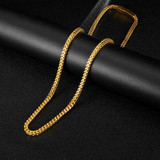 Hip Hop 4MM 14k Gold Over Stainless Steel Gold Franco Link Chain Necklace