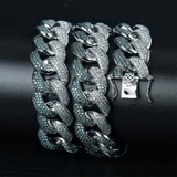 18MM Flooded Ice Mint Blue AAA Micro Pave Stone Miami Cuban Link Hip Hop Chain Bracelet Set