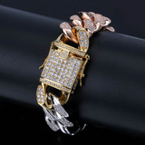 New Style Men's Gold Silver Rose Gold Tricolor Flooded Ice AAA Micro Pave Bracelet