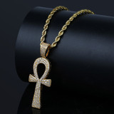 Hip Hop New Style 14k Gold Silver Ankh Cross AAA Micro Pave Pendant Chain Necklace