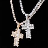 Mini Baguette Paved 14k Rose Gold Silver Hip Hop Cross Pendant Chain Necklace