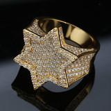 14k Gold Silver Flooded Iced Hexagon Star Rap Star Hip Hop Rings