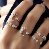 Ladies 5 Piece Fashion Bohemia Retro Crystal Moon Star Personality Girl Silver Ring Jewelry Set
