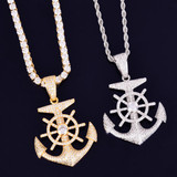925 Silver 18k Gold Nautical Anchor Cross Flooded Ice Hip Hop Pendant Chain Necklace