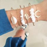Boho Bangle Classic Shell Moon Natural Stone 6 Piece Bracelet Jewelry Set