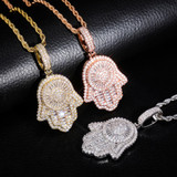 New Hamsa Hand AAA Micro Pave Baguette Stone Rose Gold Silver 14k Pendant