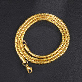 Mens 3mm 24 Inch 14k Gold Over Stainless Steel Bullet Link Chain Necklace