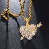 Arrow Heart AAA Cluster Stone Paved 14k Gold Over Stainless Steel Pendant Chain Necklace