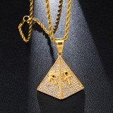 Hip Hop 14k Gold Stainless Steel Ankh Cross Eye of Horus Egyptian Pyramid Pendant Chain Necklace