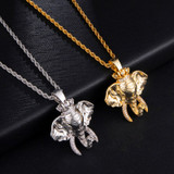 Symbol of Peace AAA Micro Pave Crown Elephant King Hip Hop Pendant Chain Necklace