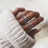 Fashion Crystal Leaf 7 Piece Boho Crown CZ Silver Joint Ring Jewelry Set