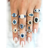 11 Piece Delicate Luxury Women Blue Crystal Water Drop Flower Ring Jewelry Set