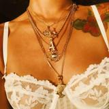 Ladies Multilayer Elephant Crown Letter Sun Portrait Six Layer Gold Clavicle Chain Necklace Set