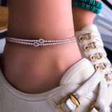 Ladies 2 Piece Personality Girl Crystal Eyes Beaded Simple Chain Gold Anklet Ankle Bracelet