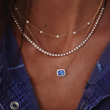 Ladies Blue CZ Crystal Round Bead Boho Clavicle Chain Pendant Necklace