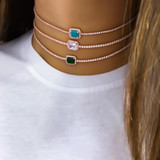 Ladies Exquisite Sexy Boho Square Crystal Gold Clavicle Choker Chain Necklace