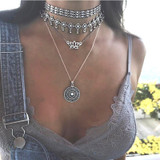 Ladies Bohemian Lotus Compass Silver Multilayer Retro Chain Long Necklace