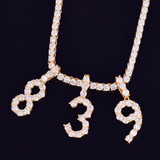 Flooded Ice Tennis Numbers Cluster Stone Hip Hop Chain Pendants