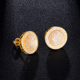 AAA Micro Pave Concave Dome Hip Hop Flooded Ice Screw Back Bling Earrings