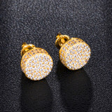Cluster Stone AAA True Micro Pave 14k Gold Hip Hop Screw Back Earrings