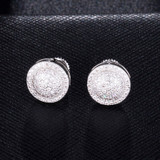 Silver 14k Gold Flooded Ice AAA True Micro Pave Ice Disc Hip Hop Earrings