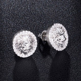 AAA Micro Paved King Lion Head Flooded Ice 14k Gold Bling Earrings