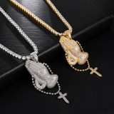 AAA Micro Pave Flooded Ice Praying Hands Cross Pendant