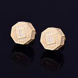 11MM AAA True Micro Pave Octagon 18k Gold .925 Silver Screw Back Big Boy Earrings