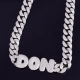 Custom Name Bubble Letters 20MM Cuban Link Street Rock Pendant Chain Necklace