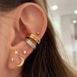 Ladies 7 Piece Classic Gold Stars Moon Crystal Stud Earrings Fashion Set