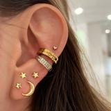 Ladies 7 Piece Classic Gold Stars Moon Crystal Stud Earrings Fashion Set